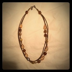 Jewelry - Triple strand brown and gold beaded necklace